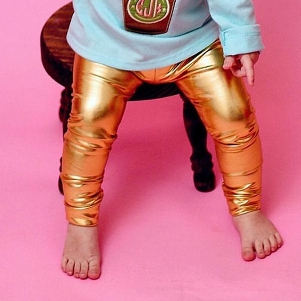 1432e00719b53 Little Girls' Metallic Color Shiny Stretch Leggings Baby Girls Pants ...