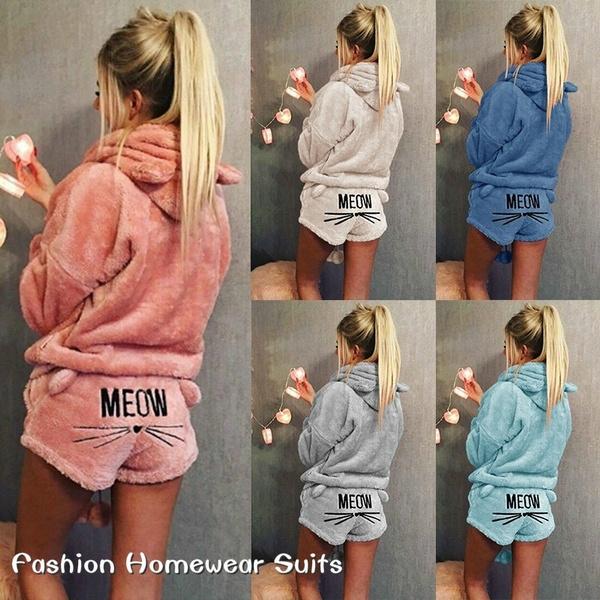 collection entière acheter beaucoup de choix de 6 Colors Warm Pajamas Set Cute Cat Ear Meow Hoodie+ Shorts 2 Piece Set  Sleepwear