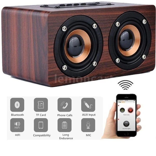 Wood Grain Wireless Bluetooth Speaker Dual Louder Speaker Subwoofer Sound Box Support Tf Music Player Wish