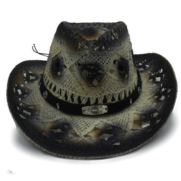 2c5b67843 Summer Women Men Straw Western Cowboy Hats Gentleman Lady Roll Up Brim  Sombrero Hombre Hat Outdoor Beach Sun Hat Size 56-58CM