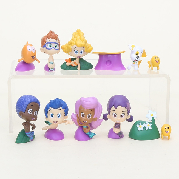 . 12PCS set Bubble Guppies Bubble Puppy Goby Deema Gil Oona Underwater  Scenery pvc action figure toys