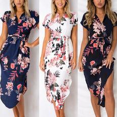 Waist, Floral print, short dress, long dress