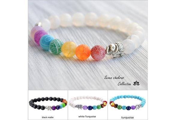 Fashion Elephant Colorful Yoga Energy Bracelet Rainbow/Turquoise/matte Healing Crystal Beads Bracelet Agate Jewelry