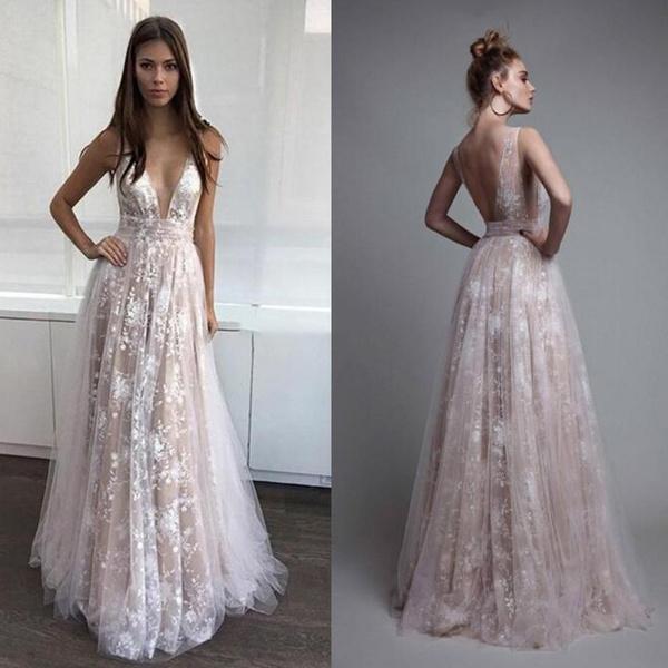 089578f138 Vestido De Noiva Deep V Neck Boho Wedding Dress Plus Size Brautkleid ...