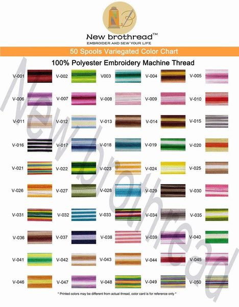 Wish New Brothread 50 Colors Variegated Polyester Machine