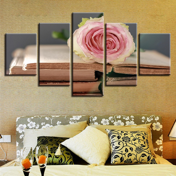5x Unframed Lotus Flower Oil Canvas Painting Picture Print Home Wall Art Decor