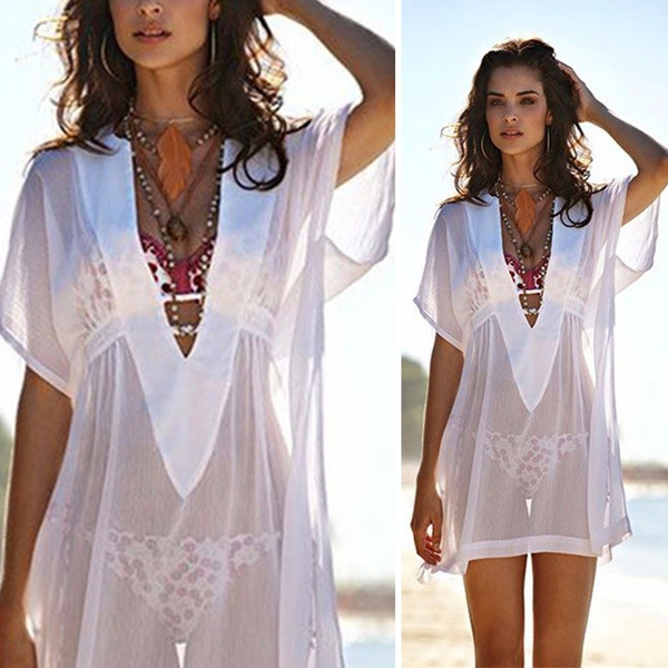 c6abee7789 Ladies Sexy V-neck Transparent Loose Beachwear Bikini Cover-Up | Home