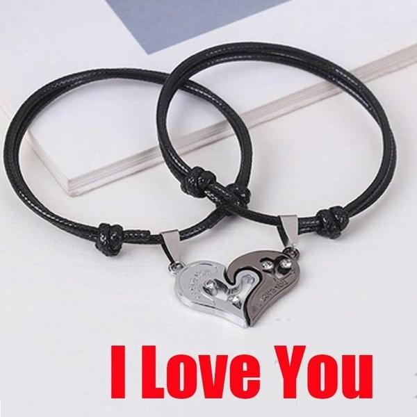 produits chauds choisir officiel top design Couple Love Heart Metal Bracelet for Women Men Silver Color Bracelets &  Bangles Birthday Valentines Day Best Gift Party Jewelry_Ynew