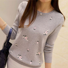 embroiderysweater, Fashion, Winter, womens pullovers