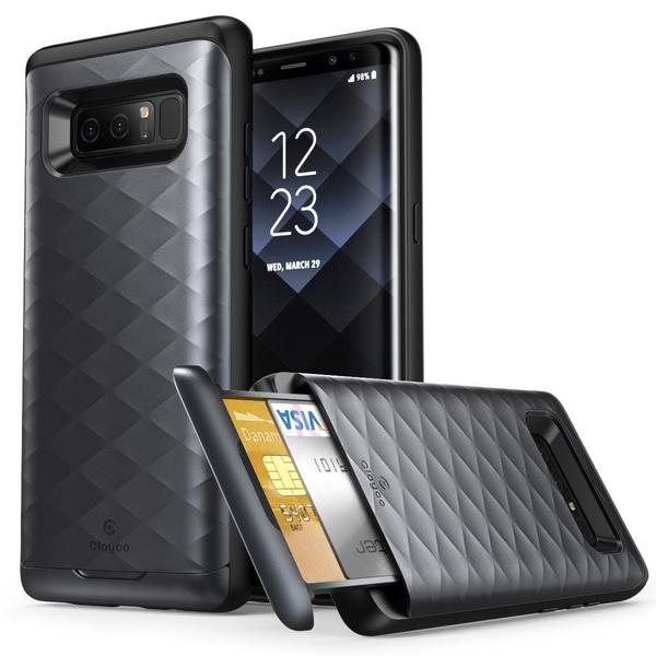 best service 5654b c36f0 Galaxy Note 8 Case, Clayco Argos Series Premium Protective Wallet Case-Black