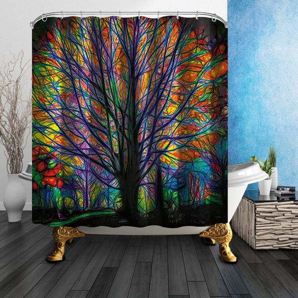 Waterproof Shower Curtain Colorful Big Tree Print