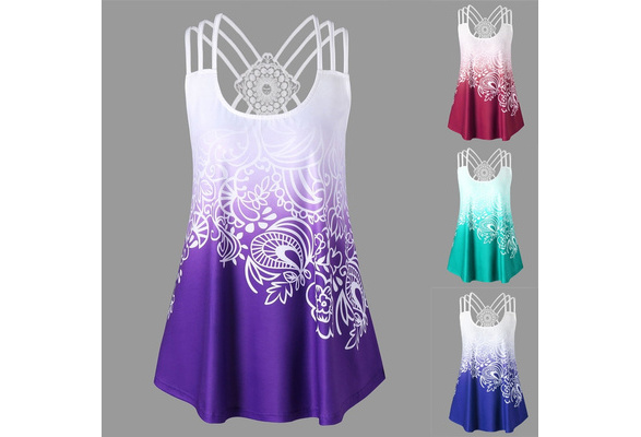 Sexy Women Strappy Back Plus Size Printed Tank Top Hem Vintage Floral Printed Sleeveless Shirts