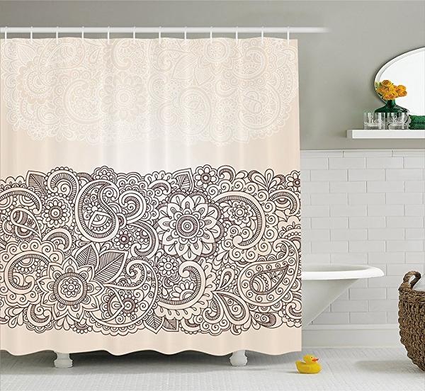 Henna Shower Curtain Vibrant Colored Mandala Print for Bathroom