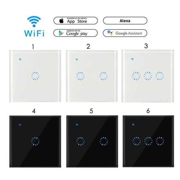 Foonee® WiFi Light Touch Smart Light Switch Glass Panel 1/2/3 Gang Wireless  Remote Control Sensor Light Switch Sonoff Touch Timer Switch APP Work with