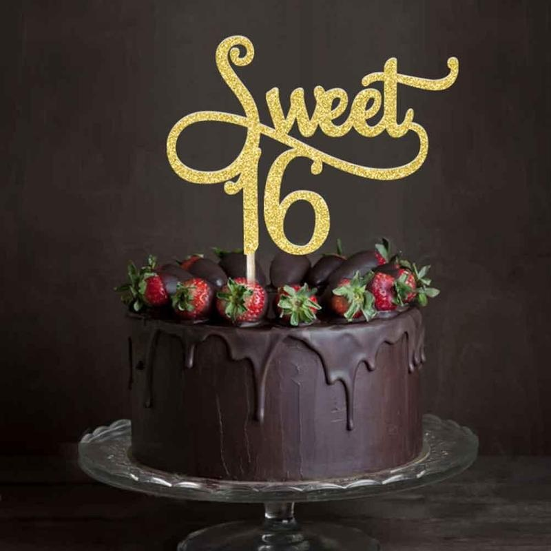 Details About Gold Glitter Sweet 16 Cake Topper Sixteen 16th Birthday Party Decoration Supply