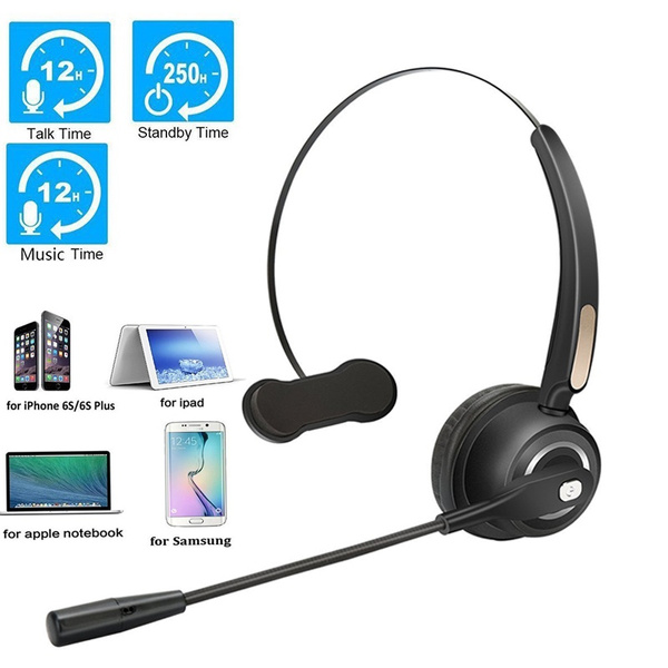 Call Center Noise Cancelling Mono Bluetooth Headset Over Head Boom Mic Business Headset For Trucker Drivers Wish