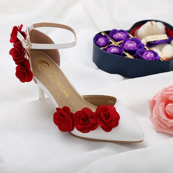 White wedding shoes female buckle
