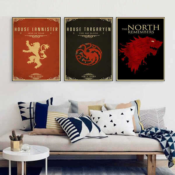 Game Of Thrones Wall Art Retro Print House Targaryen Banner Poster