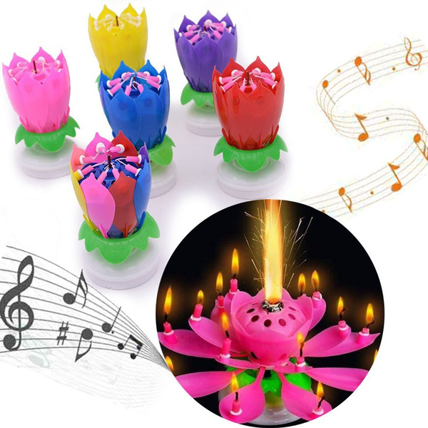Astounding Rotating Happy Birthday Party Candle Singing Double Layer Musical Funny Birthday Cards Online Aeocydamsfinfo
