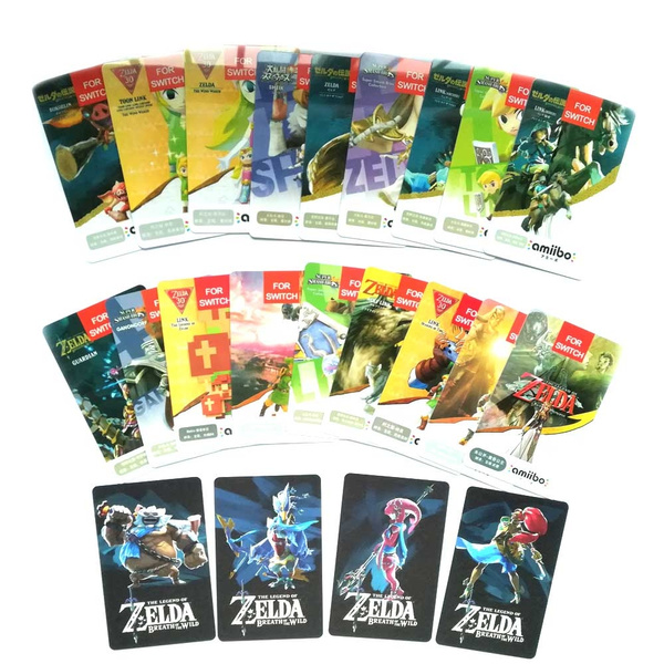 22PCS ZELDA PVC NFC TAG Cards with 4 Champion BOTW SSB Wolf Link 20 Hearts  Fierce Deity for NS Switch WII U, with Leather Holder Case