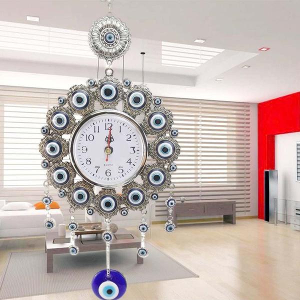 33 cm Turkish Nazar Glass Evil Eye Wall Clock Hanging Charm &Home Decor