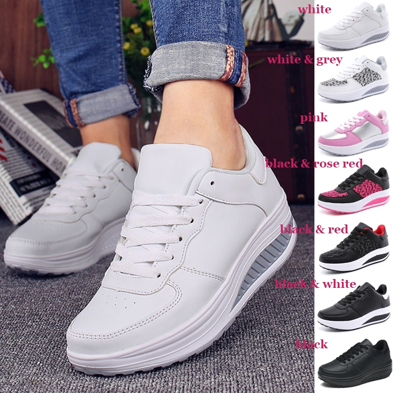 Women Sneakers White Platform Trainers Summer Wedges Casual Shoes Basket Femme Lace Up Zapatillas Deportivas Mujer White Shoes Wedges Shoes From