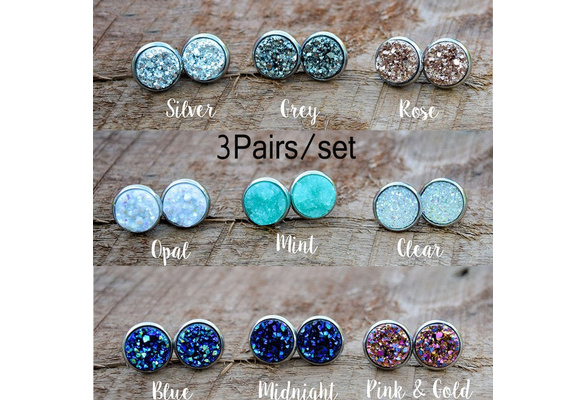 3pairs Vintage Stainless Natural Gemstones Opal Druzy Stud Earring Set 925 Sterling Silver Hypoallergenic Engagement Wedding Studs Earrings Bridesmaid Jewelry Gifts