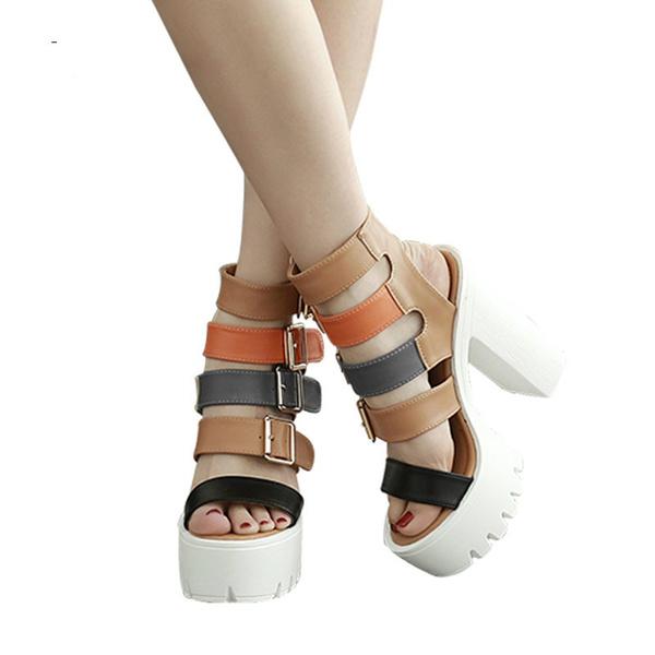 5bdcf96eec Women Sandals High Heels New Summer Buckle Female Gladiator Sandals ...