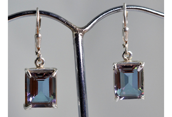 100% color change Lab Created Alexandrite 925 Sterling Silver Earrings
