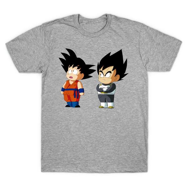 91285966 Men Women T-Shirt Grey T Shirt Casual Dragon Ball Z DBZ Kid Goku and ...