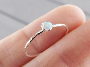 fireopalring, Sterling, slim, Jewelry