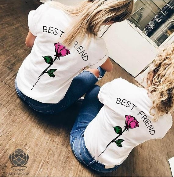 313975383 2018 Summer BEST FRIEND Letters and Rose Printed T Shirts Friends ...