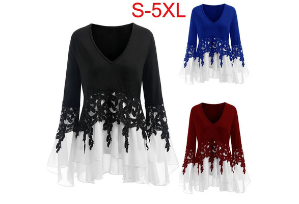 4 Color Plus Size Summer New Women Fashion Sexy V-neck Lace Long Sleeve T-shirts Slim Cotton Mosaic Women Blouse (S-5XL)