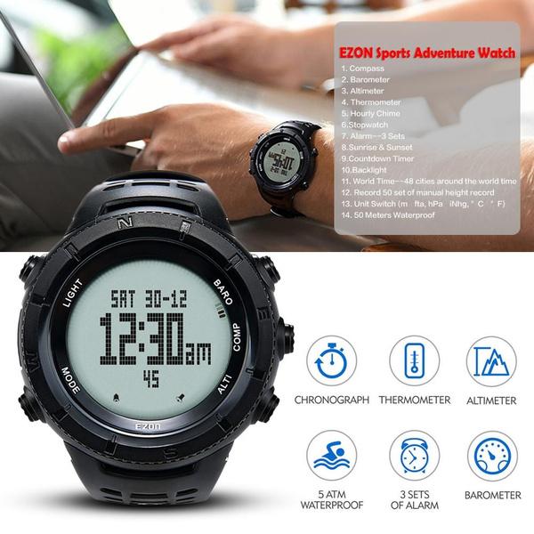 New EZON Men's Multifunctional Hiking Watch Sport Digital Watch Hours  Altimeter Barometer Compass Thermometer Climbing Wristwatch