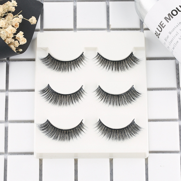 42c7abdb5d6 3 pairs natural false eyelashes fake lashes long makeup 3d mink ...