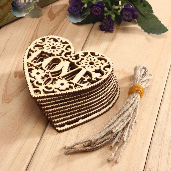 Heart, Embellishments, Laser, Wooden