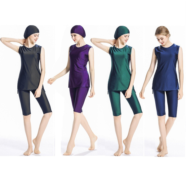 7130064e3bb Ladies Muslim Sleeveless bathing suit With Cap Islamic Solid color ...