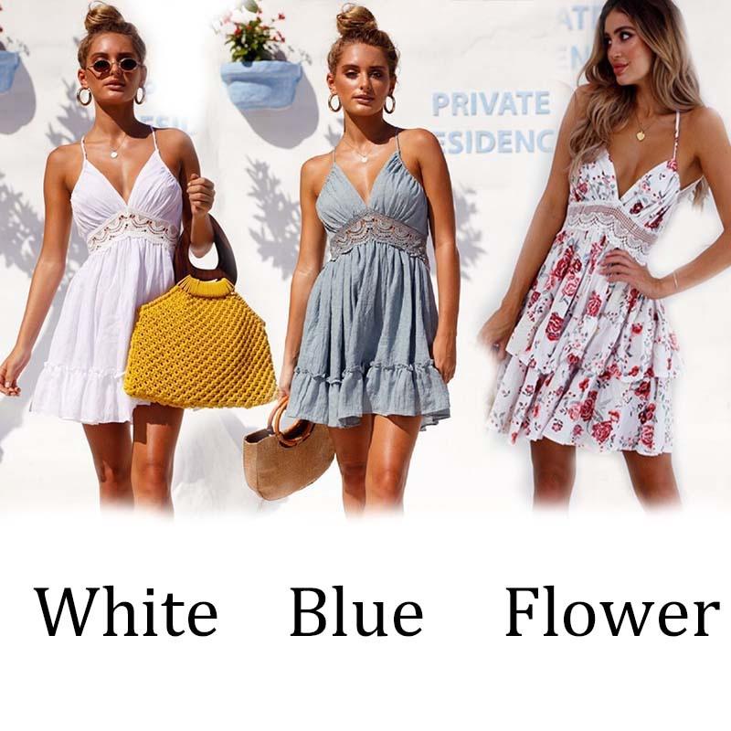 c855a3204ff3 Women  s Fashion Sexy Backless Dress Sleeveless Lace Braces Skirt Female Summer  Casual Dress High Waist Short Skirt