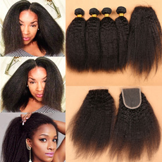 3bundleswithclosure, afrohair, yakihair, human hair