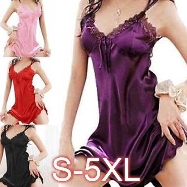 c4d94d63217ee Women Sexy Sleepwear Nightgown Satin Silk Babydoll Lace Robes Sleep ...