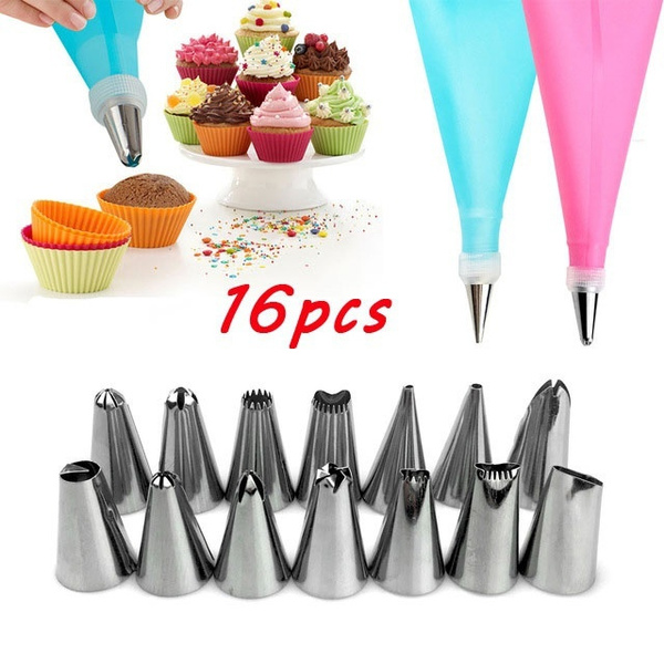 10 16pcs Diy Silicone Ice Piping Cream Pastry Bag 8 14pcs Stainless Steel Nozzle Pastry Tips Converter Diy Squeeze Cake Decorating Tools