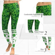 c71ca639c29bbd Leggings Pants Green Shamrock Printed Irish St Patricks Day Elastic ...
