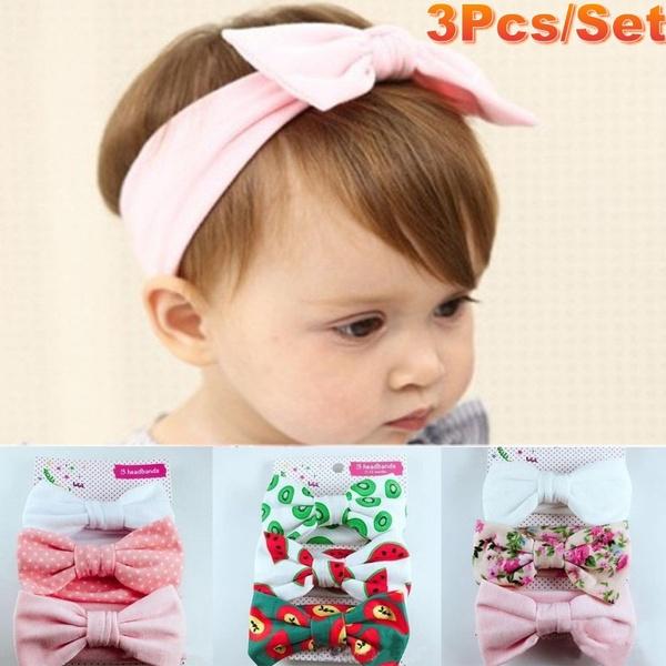 3 Pcs Cotton Cute Baby  Girls Newborn Elastic Bow-knot Headband Floral Hair Band