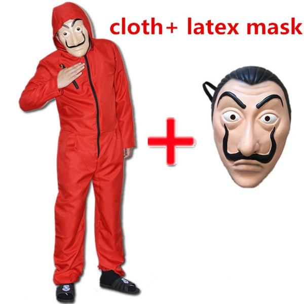 casa de papel costume  La Casa De Papel Salvador Dali red costume with latex mask Jumpsuits ...