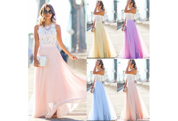 Fashion Women Formal Wedding Bridesmaid Long Evening Party Ball Prom Gown Cocktail Dress S-XXL