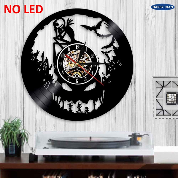 The Nightmare Before Christmas Silhouette Led Backlight Modern Light Wall Vinyl Clock Cool Home Art Decor Remote Control