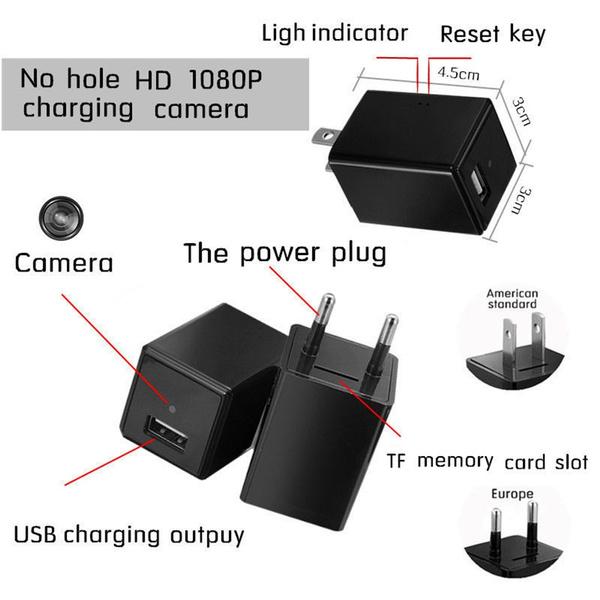 【Plug-A8】Spy Camera USB Phone Charger HD Hidden Camera WIFI Wireless Wall