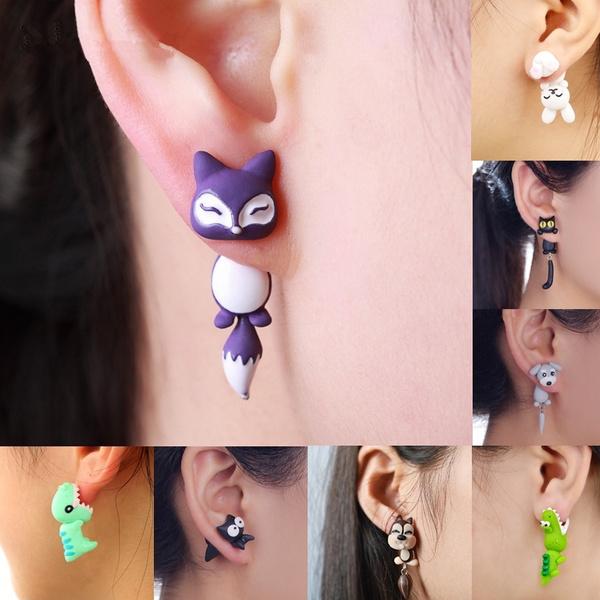 1 Pair Cute Animal Earrings  Handmade Polymer Clay Earrings Unique Jewelry Gift