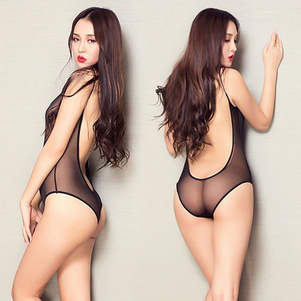 5ae71b61526 High Cut Sheer Thong Bodysuit Leotard Sexy Women s Lingerie One ...