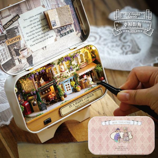 Wooden Dolls House Diy Mini Model Kit Led Light Furnitures Toys